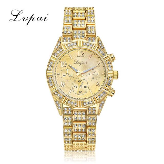 Lvpai 2016 Luxury Geneva Brand Crystal Stainless Steel Simulation Wristwatch Dress Women Ladies Men Fashion Quartz Watch