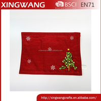 2016 new design christmas holiday burlap table decor placemat with ribbon tree pattern