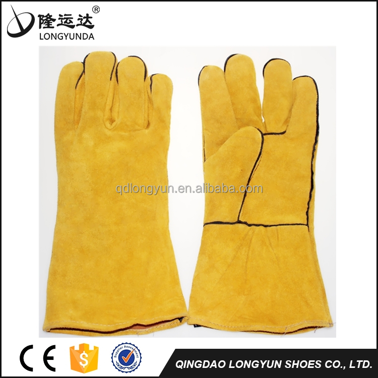 Yellow cow leather welding gloves,cow leather welding working glove, split cow leather work glove