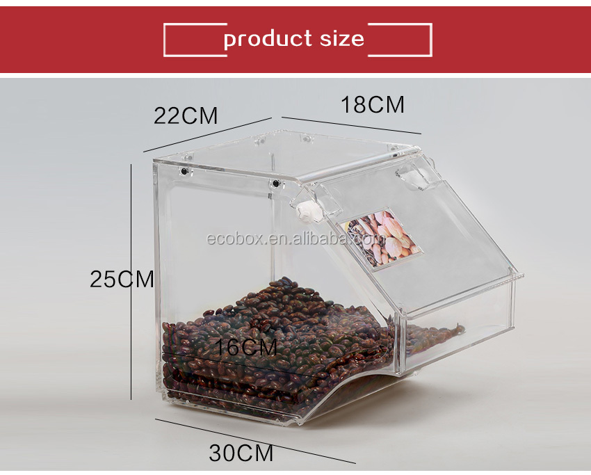 Clear Acrylic Candy Dispenser Candy Container Box Stackable Acrylic Bulk Food Bin Bulk Candy Container with front and top lid