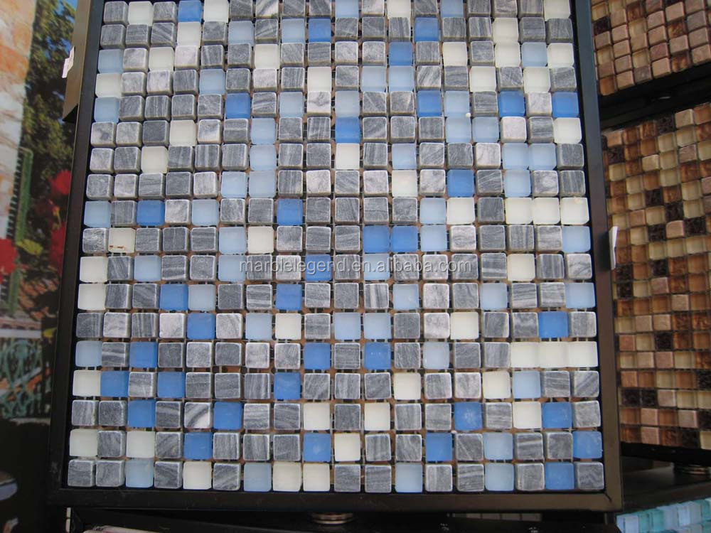 Elegant manor decoration floor glass mosaic mix stone tile