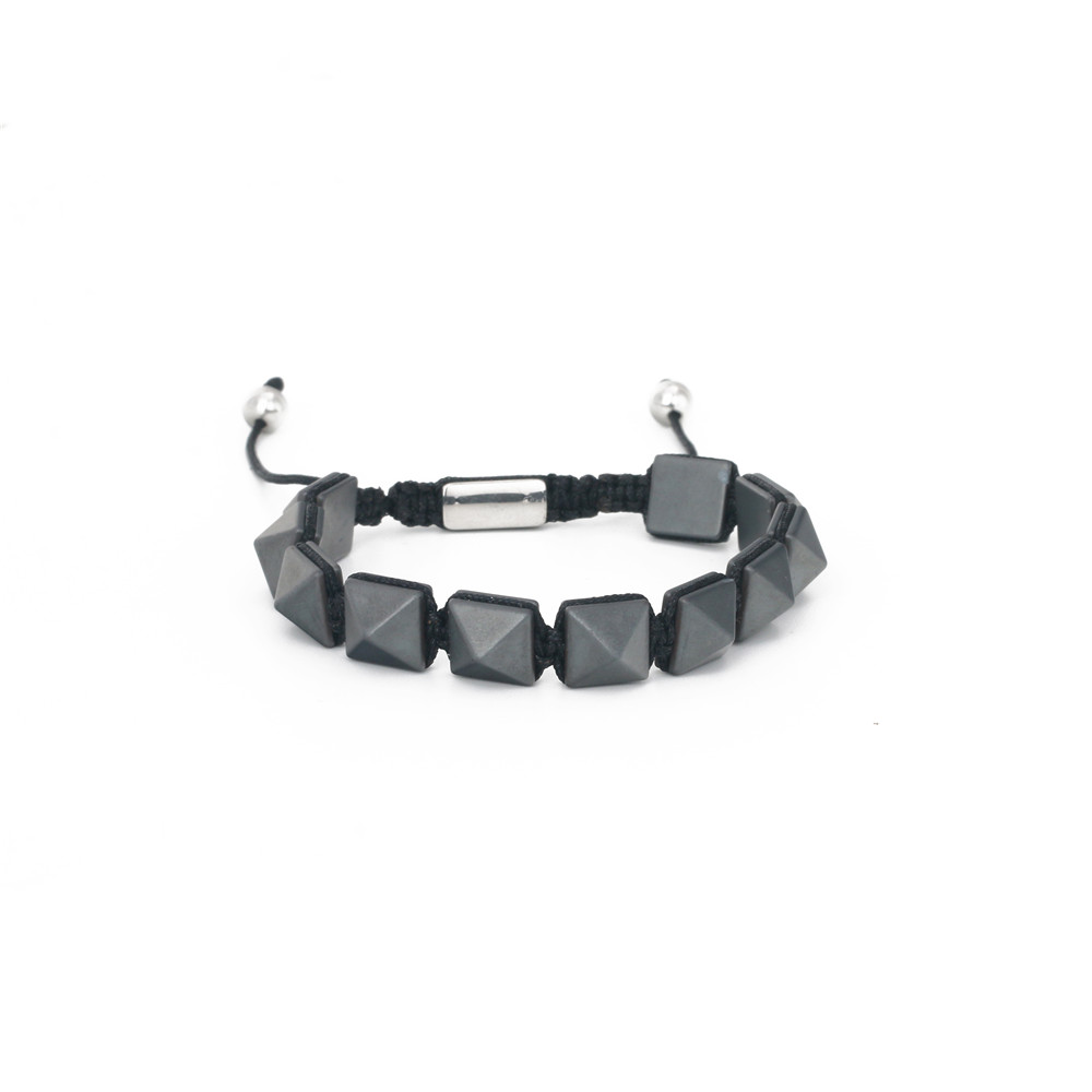 Adjustable Bracelets 2020 Wholesale Trendy Braided Men Natural High Quality Hematite Stone Bead Bracelet