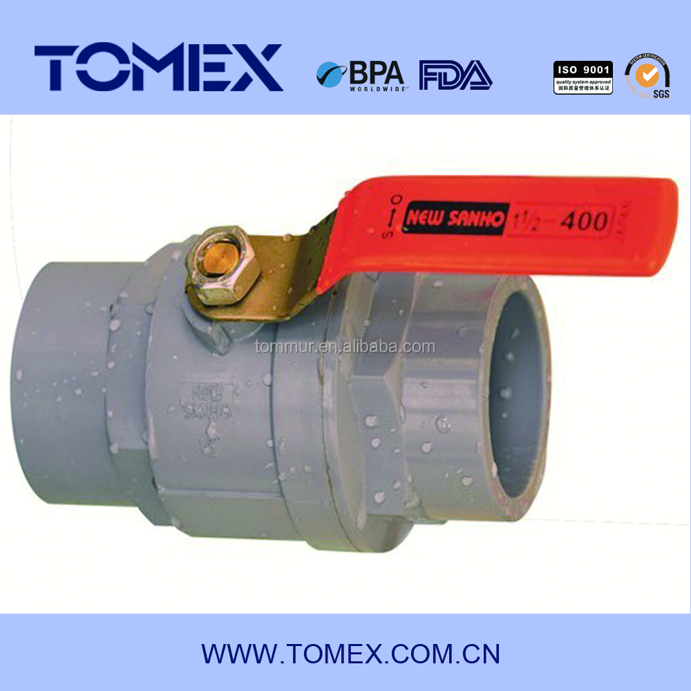 2015 china supplier new products 32mm glue on upvc ball valve with stainless steel handle