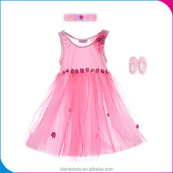 Top Quality Pink Baby Girl Party Dress Children Frocks Designs, Party Dress Set With Headband And Shoes For Little Girls