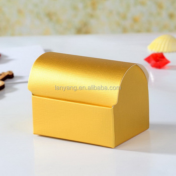 Wedding Party Favors and Gift Packaging Gold Paper Boxes Treasure Chest Candy Box