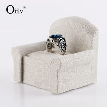 Oirlv Wholesale Creative Sofa Shaped Rings Cufflink Display Stand with Slot Practical Craft Gift Jewelry Ring Holder