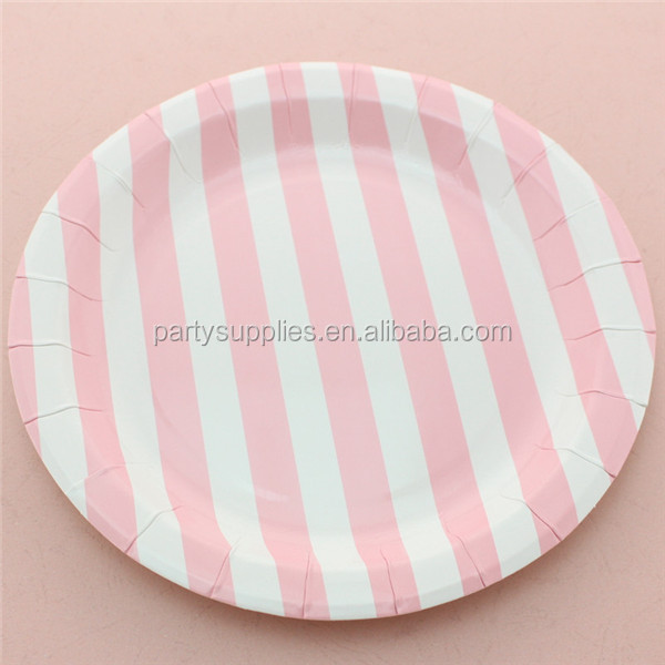 Supplier Of Disposable Baby Pink Round Striped Paper Plate