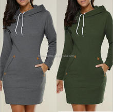 Warm Winter High Quality Hooded Dresses Pocket Long Sleeved Casual Mini Dress Sport wear XXX Women Clothings