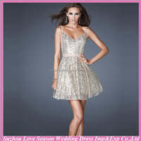 HC4381 The Whole Sale Sweetheart Spaghetti Straps A line Sequin Fabric Short Cocktail Dress Sexy Diamond Bead Satin Party Dress