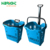 Supermarket plastic rolling basket with two wheels