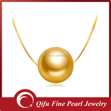 Best Selling Fashion Simple Design 18K Yellow Gold Single Natural Pearl Necklace Jewelry