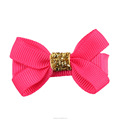 Boutique Grosgrain Ribbon Bow Clips With Golden Ribbon Knot
