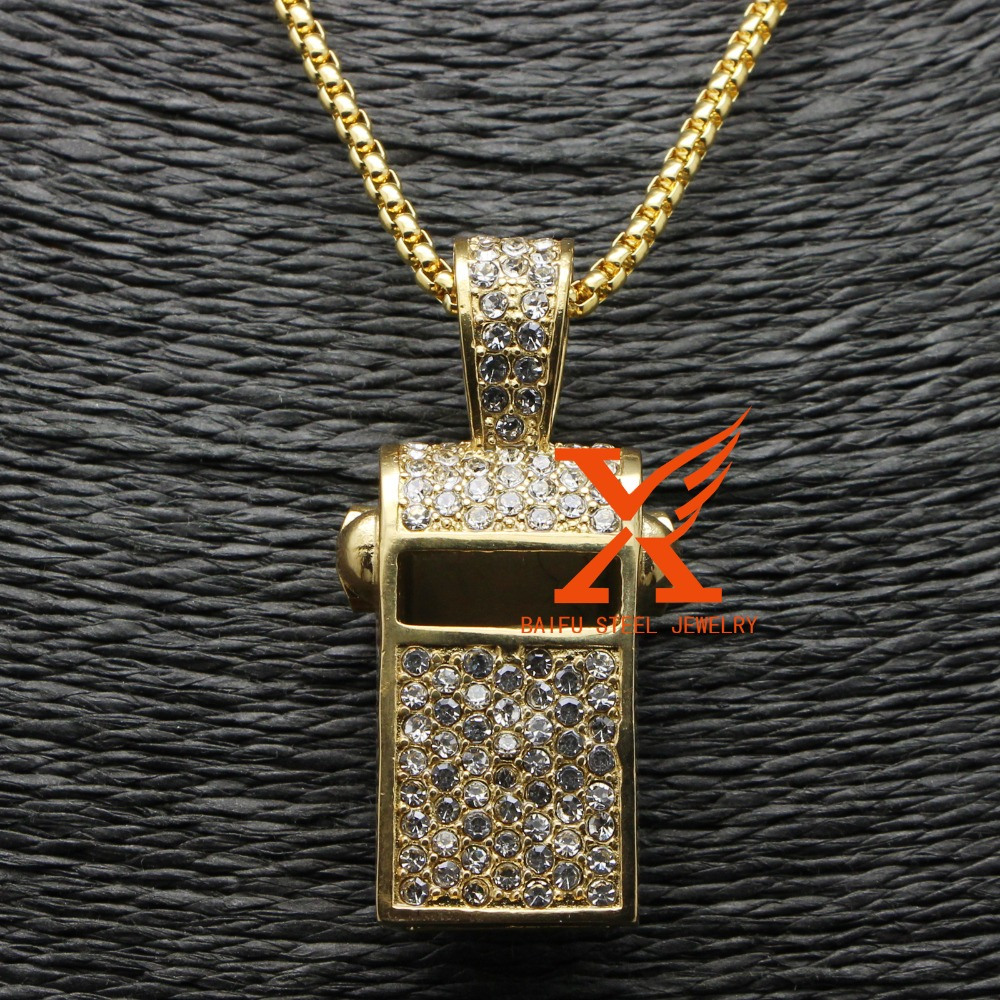 2017 Fashion White Cz IPG Plating Gold Stainless Steel Pendant 3D Whistle Pendant