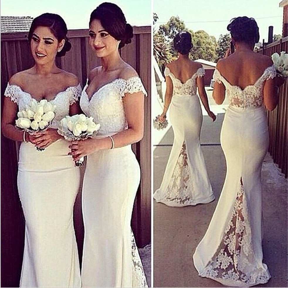 W1163 Custom Made 2016 Mermaid V-neck Cap Sleeves White Satin Lace Long Cheap Bridesmaid Dresses Under 50 Wedding Party Dresses