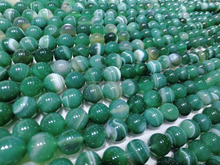 Polished Green Agate Natural Gemstone striped agate round beads