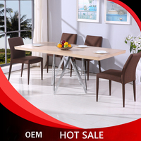 MDF veneer/Tempered glass 38*13 chrome legs dining table upholster dining chair manufactory