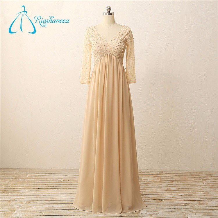 Real Photo Long Sleeves Pearls Chiffon Patterns Of Lace Evening Dress