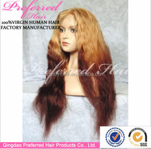 Long beautiful honey blonde ombre color human hair full lace wig carnival party wigs