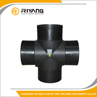 Buttfusion equal cross four way tee pipe fitting