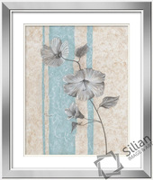2014 new pictures new design beautiful flowers mirror painting with home wall decoration art