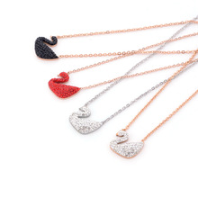 Hot Red Swan Necklace stainless steel jewelry Rose Gold Full Diamond Swan Clavicle Chain Fashion Jewelry Pendant Necklace