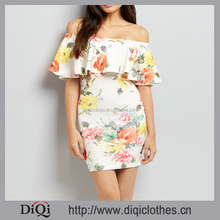New Look Good Quality Beautiful White Floral Print Bardot Bodycon Mini Elegant Lady Dress