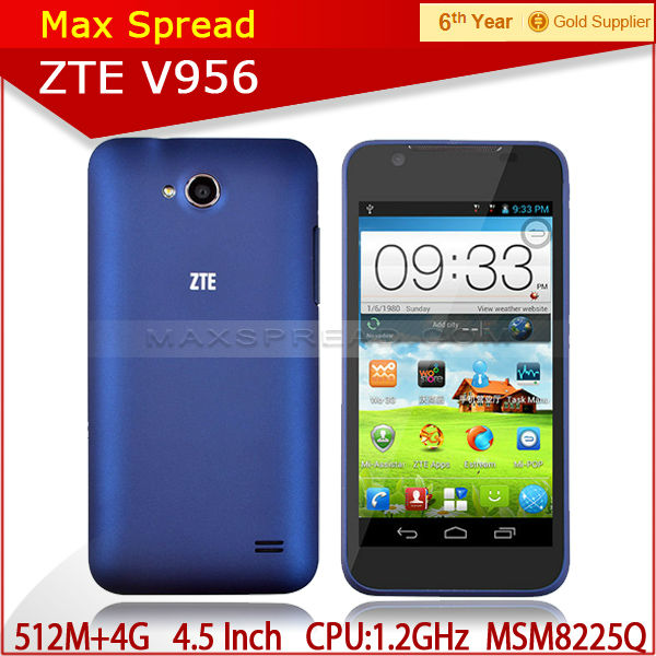 Mobile Phone ZTE V956 4.5 inch Qualcomm Quad Core Android 4.1 3g gps bluetooth ZTE mobile phones