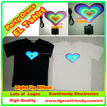 Valentine's Day Heart Shape Flash T-shirt Lovers' Clothes led class clothing EF22