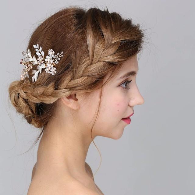 Wholesale Bridal Flower Hair Jewelry Crystals Wedding Hair Accessories Handmade beands Hair Combs
