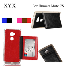 Popular backside slot leather flip case cover for Huawei ascend mate 7S, for Huawei mate 7s case