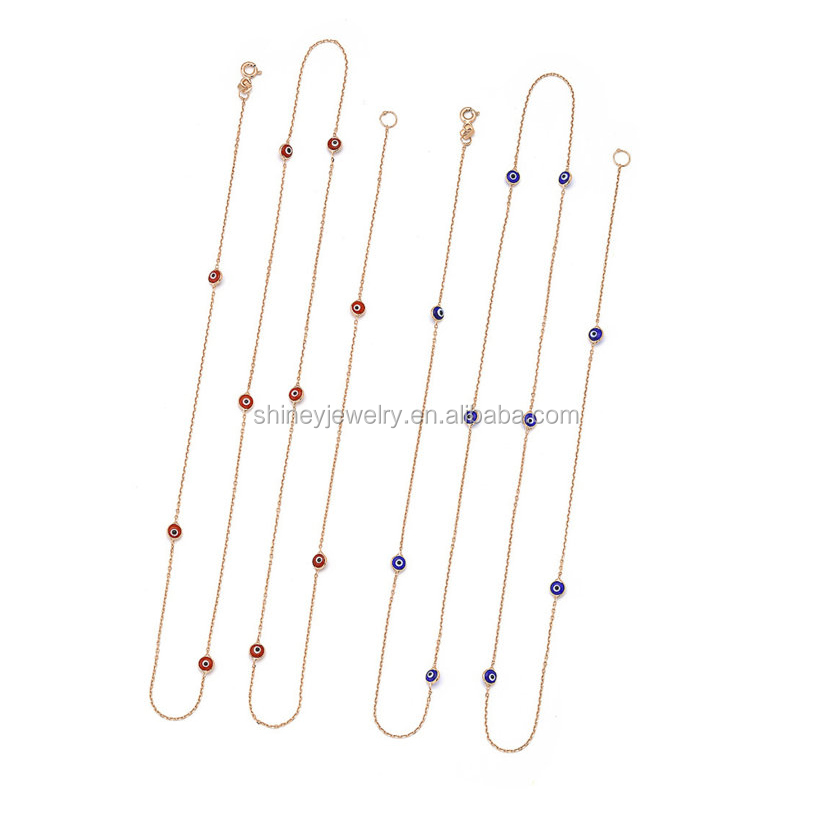 2017 factory custom red blue enamel turkish eye beaded connector fashion long chain women delicate gold necklace