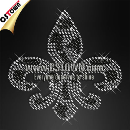 Custom design rhinestone and rhinestud fleur de lis crystal iro on