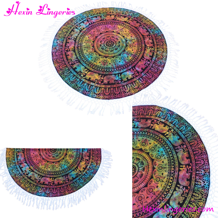 Mix Colour Elephant Printed Custom Round Digital Printing Beach <strong>Towel</strong>
