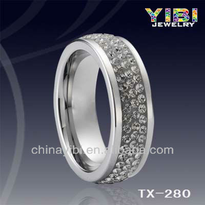 8mm Tungsten Carbide Grey Crystal Inlay Men Women Wedding Band Ring