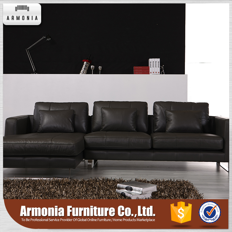 Asian cheap modern l shaped black color genuine leather corner sofa