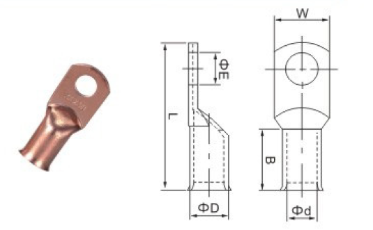 AWG Copper Tube Ring Crimp Solder Terminals Cable Lugs