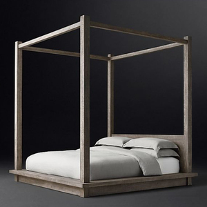 Sunwe simple canopy bed solid wood canopy bed king queen size