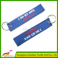 Cheap Customized Personality Blue Embroidery Double Sides Label Keychain