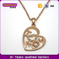 "New Design Fashion mother's day gift, letter"" i love mom"" 24 karat gold necklace"