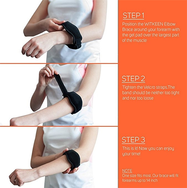 Tennis Elbow Brace with Compression Pad with adjustable strap band for women and men