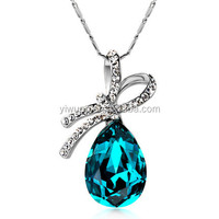New Arrival 2015 new crystal necklace female short paragraph chain Korean Fashion Jewelry water drop jewelry Brand