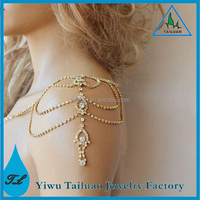 Wedding gold crystal jewelry shoulder chain jewelry