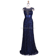 Chaozhou Factory Short Sleeve Beaded Women Elegant Lace Evening Dress