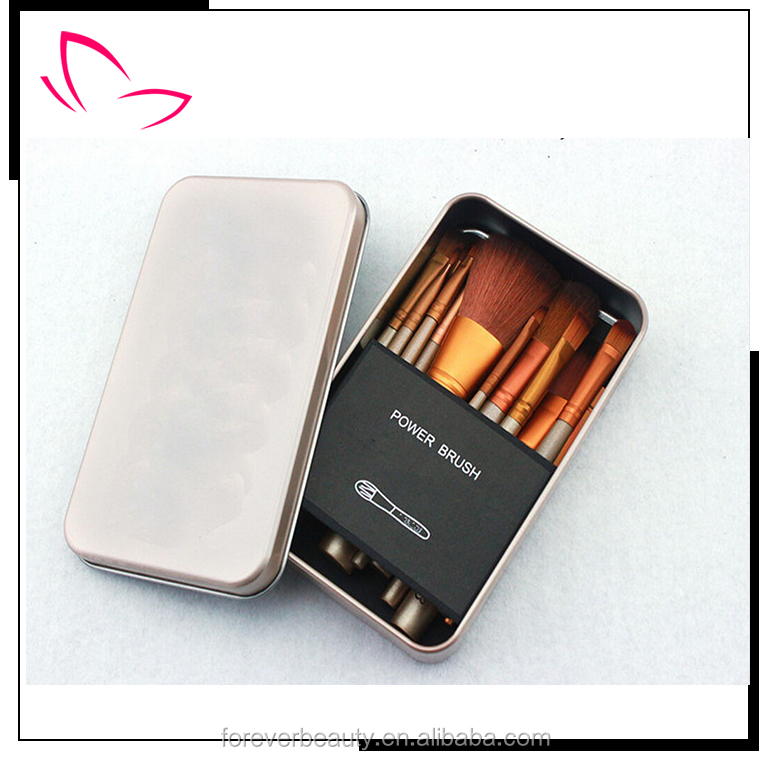 Hot selling naked 3 makeup brushes with Golden Iron box