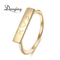 Custom Promise Women Jewelry Stackable Minimalist Textured Bar Rings Rose Gold Silver Gold ring designs for girls Gift