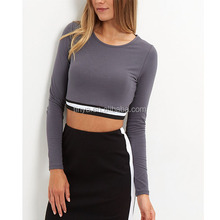 Latest Elasticated Hem Long Sleeve Crop Top Ladies Tops For Women 2016