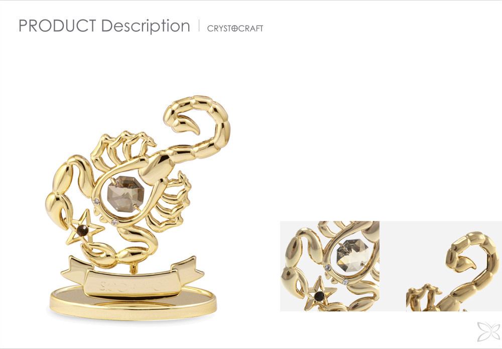 Classic Sophisticated Gold Plated Crystals Scorpio Zodiac Signs