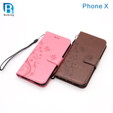 Butterfly Leather Wallet For iPhone X Embossed Printing Leather Case for iPhone X