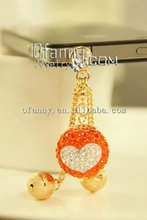Fashion rhinestone ball heart earphone jack anti dust cap plug