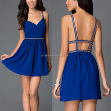 China Supplier Royal Blue Formal Short V-Neck Chiffon Party Dress Patterns